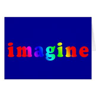 Imaginez dans le lettrage de couleur d'arc-en-ciel carte de vœux