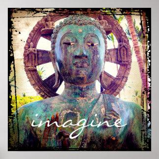 """""""Imaginez"""" l'affiche asiatique de photo de statue Posters"""