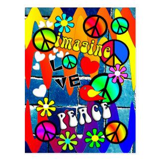 Imaginez les rétros symboles de paix carte postale