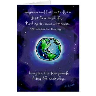 Imaginez un monde sans religion carte de vœux