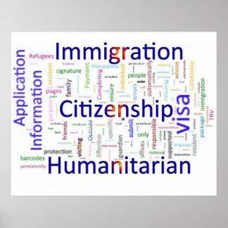 Immigration et texte relatif de citoyenneté affiche