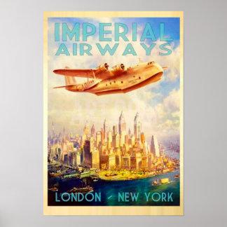 Imperial Airways Londres et voyage vintage de New Posters