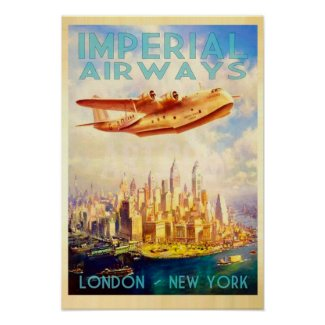 Affiche vintage Imperial Airways Londres New York