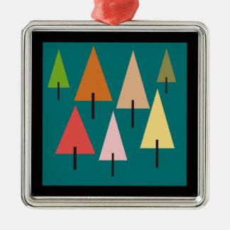Impression artistique de forêt ornement carré argenté