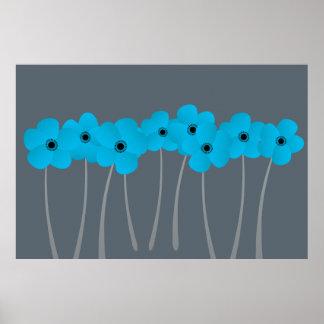 Impression bleue lumineuse abstraite d'anémones affiches