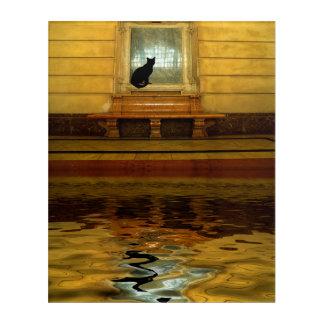Impression En Acrylique Chat noir en surface