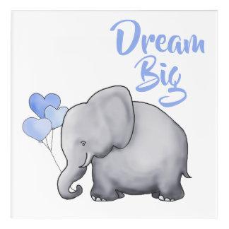 Impression En Acrylique GRANDE crèche mignonne inspirée RÊVEUSE d'éléphant