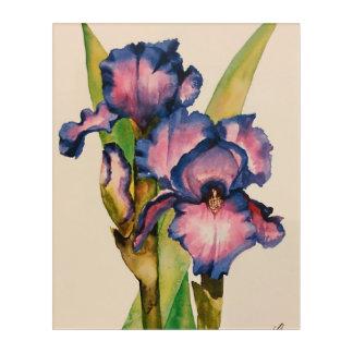 Impression En Acrylique Iris bleus d'aquarelle