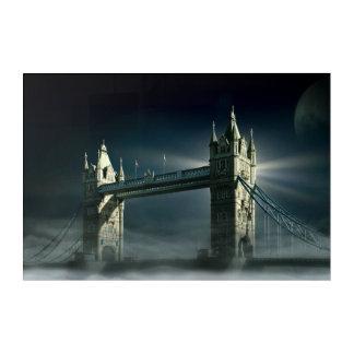 Impression En Acrylique Pont Londres de tour en brouillard de nuit