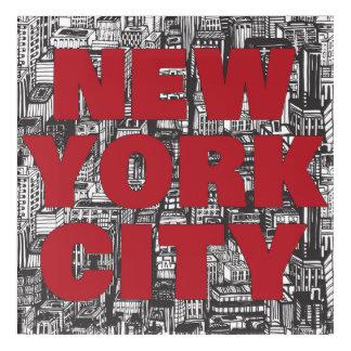Impression En Acrylique Typographie de gratte-ciel de New York City  