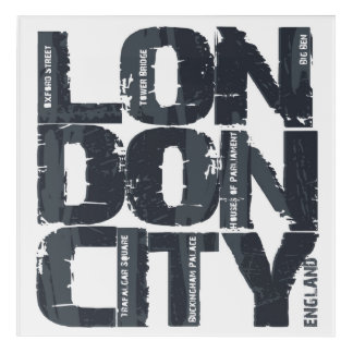 Impression En Acrylique Typographie de Londres, Angleterre