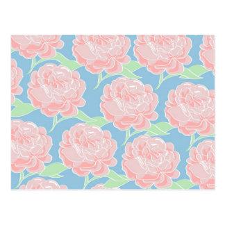 Impression florale assez Girly de rose en pastel Carte Postale