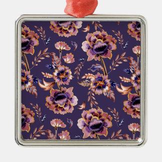 Impression florale vintage pourpre ornement carré argenté