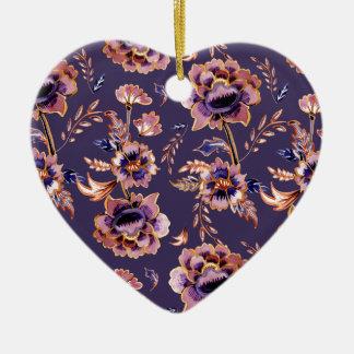 Impression florale vintage pourpre ornement cœur en céramique