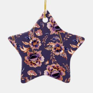 Impression florale vintage pourpre ornement étoile en céramique