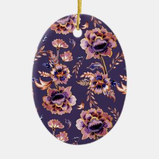Impression florale vintage pourpre ornement ovale en céramique