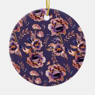 Impression florale vintage pourpre ornement rond en céramique