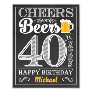 Impression Photo Acclamations et bières à 40 ans de signe de joyeux