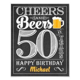 Impression Photo Acclamations et bières à 50 ans de signe de joyeux