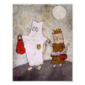 Impression Photo Affiche d'art de chat de Halloween
