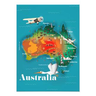 Impression Photo Affiche de voyage de carte de l'Australie