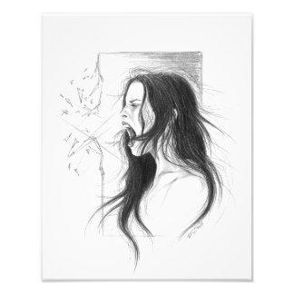 Impression Photo Art fâché criard de dessin au crayon de femme