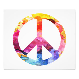 Impression Photo Art hippie d'aquarelle de fille de signe de paix