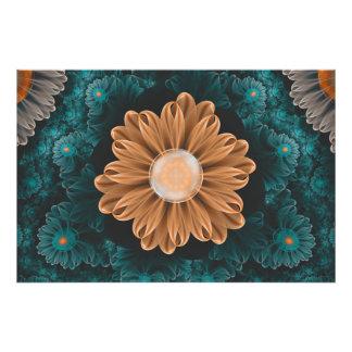 Impression Photo Beau chrysanthème de paradis d'orange et d'Aqua