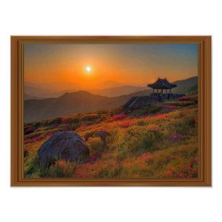 Impression Photo Cadre coréen en bois de temple de coucher du