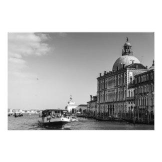 Impression Photo Canal grand à Venise en noir et blanc