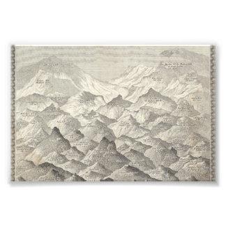Impression Photo Carte vintage des collines et des montagnes au R-U