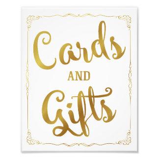 Impression Photo cartes et or de signe de mariage de partie de