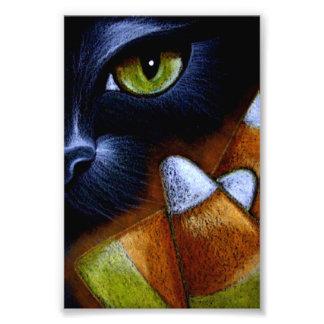 """Impression Photo CAT NOIR de HALLOWEEN avec des BONBONS AU MAÏS 4"""""""