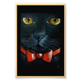 Impression Photo CAT NOIR de HALLOWEEN avec la COPIE ORANGE d'ARC