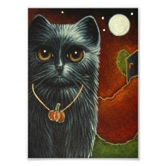 Impression Photo CAT NOIR de HALLOWEEN avec la COPIE PENDANTE de