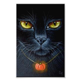"""IMPRESSION PHOTO CAT NOIR DE HALLOWEEN AVEC LE PENDENTIF 4"""" DE"""