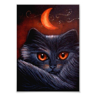 IMPRESSION PHOTO CAT NOIR D'IMAGINAIRE DE HALLOWEEN ET COPIE ORANGE