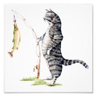 Impression Photo Chat avec un poisson