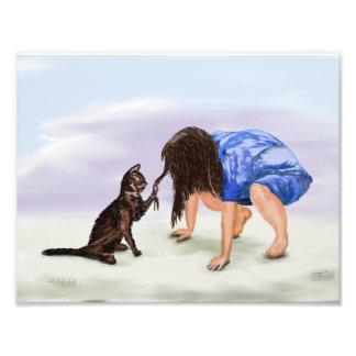 Impression Photo Chat et enfant de peinture d'impression d'art