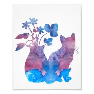 Impression Photo Chat et fleurs