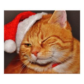 Impression Photo Chat orange - chat du père noël - Joyeux Noël