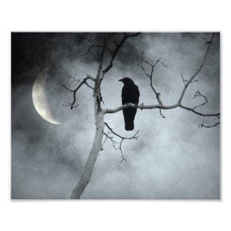 Impression Photo Ciel déprimé et un croissant de lune