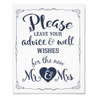 Impression Photo conseil et signe de mariage de partie de souhaits