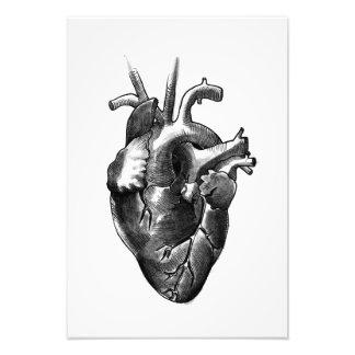 Impression Photo Copie noire et blanche d'art de coeur (petite)
