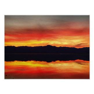 Impression Photo Coucher du soleil à la mer de Salton