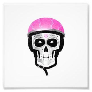 Impression Photo Crâne Halloween drôle de cycliste ou jour des