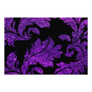 Impression Photo Damassé florale, lueur de scintillement - noir