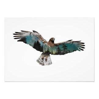 Impression Photo Double exposition de faucon