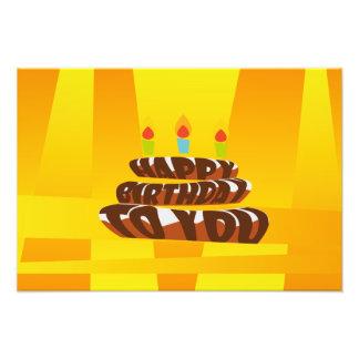 Impression Photo Gâteau de joyeux anniversaire d'illustration avec