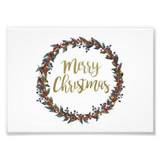 Impression Photo Guirlande d'aquarelle - Joyeux Noël - branches
